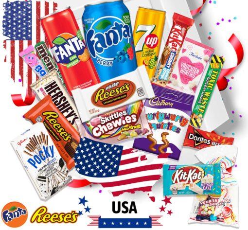 17 leckere USA Süssigkeiten Kennenlernbox - Candy Mix inkl. Getränke – Fanta – 7up Reeses, Hersheys, Pocky, Skittles Süßigkeiten aus aller Welt